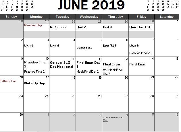 Geo Trig Final Review Calendar